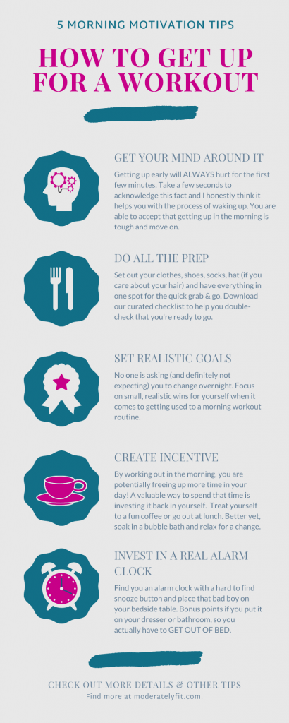 How to get up for a workout infographic