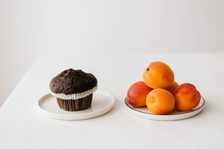 chocolate muffin and peaches