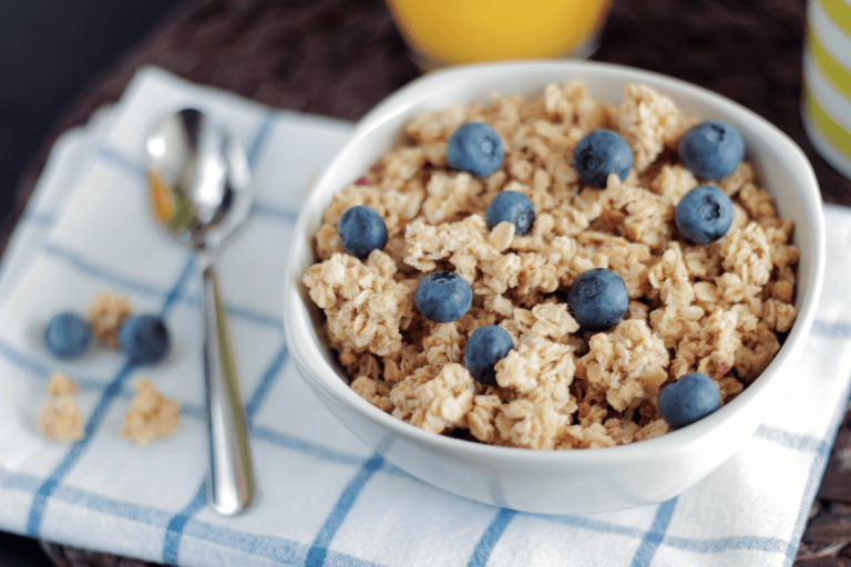 oatmeal and blueberries in a bowl