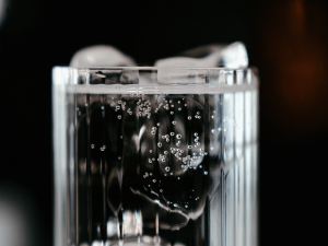 glass of bubbly water