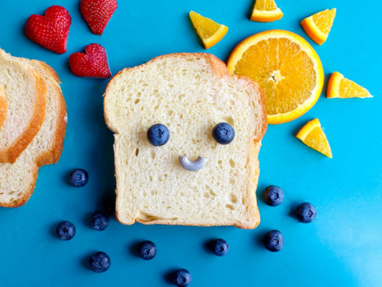 a slice of bread with a smile