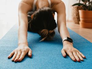 woman stretching forward
