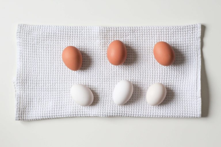 brown and white eggs on a towel