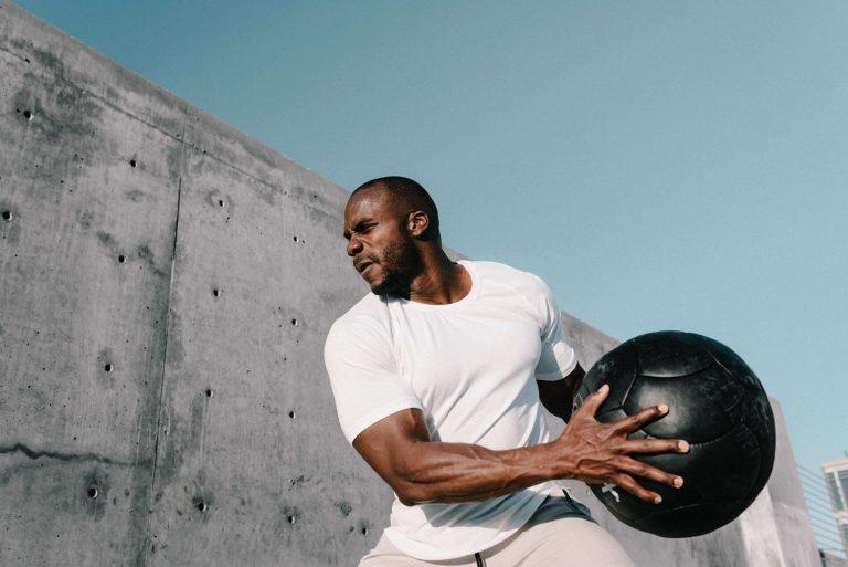 man with medicine ball