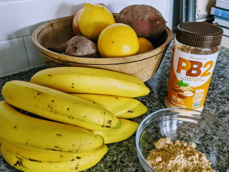 pb2 in a bowl and bananas