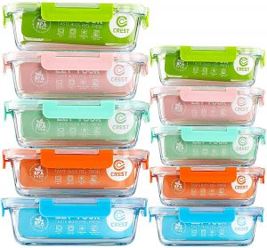 [10-Pack] Glass Food Storage Containers meal prep containers