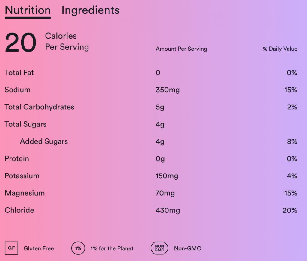 Basis hydration mix nutrition information