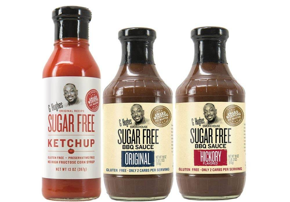G Hughes Sugar Free Ketchup, original bbq and hickory bbq sauce
