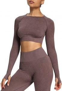 Aoxjox Women's Crop Tops Seamless Workout Tops Vital Long Sleeve Shirts