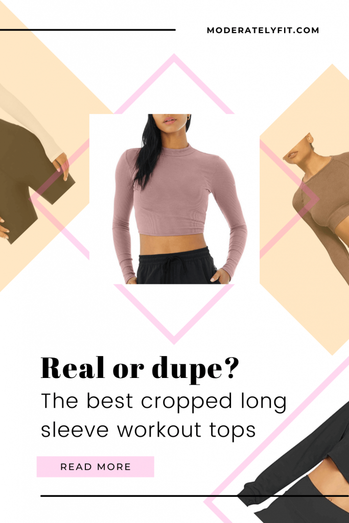 Real or dupe? The best cropped long sleeve workout tops - Pinterest pin